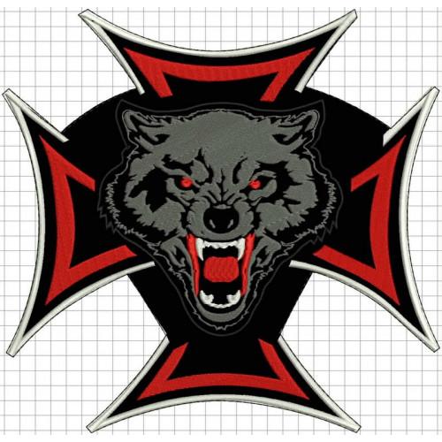 Nášivka Kríž + vlk /v